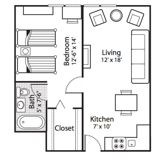 One bedroom independent living