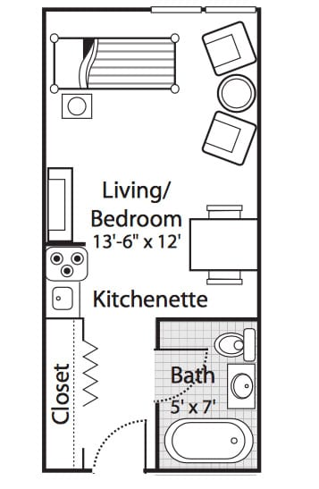 Independent Living - One room efficiency